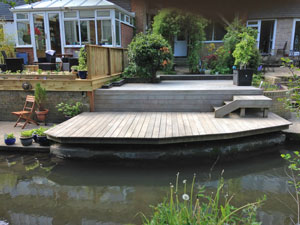 Hardwood decking by the river