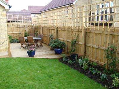Small planting, deck and trellis in Corsham garden