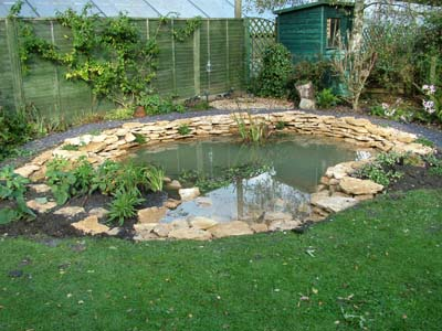 Landscaping a natural stone wildlife pond in Devizes